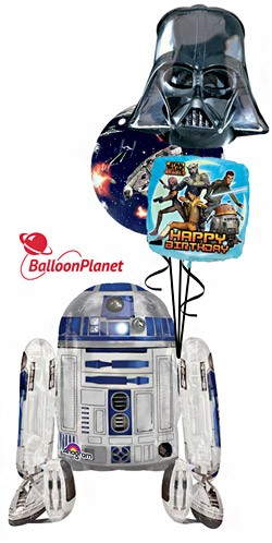 Star Wars R2D2 Airwalker  Balloon Bouquet Version 4  (4 Balloons)