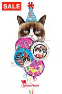 Grumpy Cat Birthday Balloon Bouquet (5 Balloons) delivered in Henderson