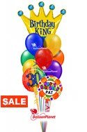 Birthday King Balloon BouquetName & Optional AgeSelect Your Colors (3 Mylars, 9 Latex) delivered in Arlington