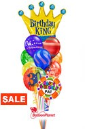 Birthday King Balloon BouquetCustom Name & AgeRainbow Prints (12 Balloons) delivery in Orlando