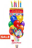 Birthday Cake Balloon BouquetName & Optional AgeSelect Your Colors (3 Mylars, 9 Latex) delivery in Orlando
