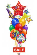 Star Burst Birthday Balloon BouquetName & Optional AgeSelect Your Colors (3 Mylars, 9 Latex) delivery in Orlando