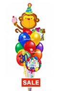 Birthday Monkey Balloon BouquetName & Optional AgeSelect Your Colors (12 Balloons) delivery in Tampa