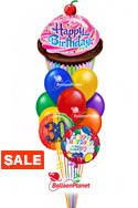 Birthday Cupcake Balloon BouquetName & Optional AgeSelect Your Colors (12 Balloons) delivery in Tampa