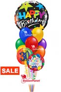 Jumbo Round Birthday Balloon BouquetName & Optional AgeSelect Your Colors (12 Balloons) delivery in Tampa