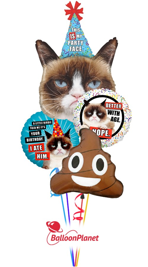Grumpy Cat Poop  Balloon Bouquet  (5 Balloons)