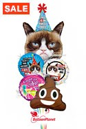 Grumpy Cat Poop Balloon Bouquet (5 Balloons) delivery in Boston