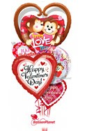 Valentine'sKissing Monkeys Balloon Bouquet (5 Balloons) delivery in Tampa