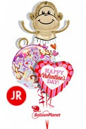 Jr Valentine'sLove Monkey Bubble Mix Balloon Bouquet (3 Balloons) delivery in Oklahoma City