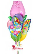 Mother's DayPink Rose Butterfly Balloon Bouquet (9 Balloons) delivery in Milwaukee