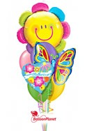 Mother's DaySmiley Flower & Butterfly Balloon Bouquet (9 Balloons) delivery in Milwaukee