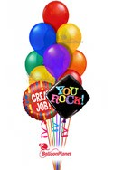 Great Job!You RockRainbow Colors Balloon Bouquet (12 Balloons) delivered in Santa Ana