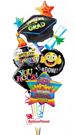 Colorful Grad Mylars No Name  Balloon Bouquet  (5 Balloons)