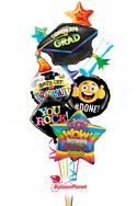 Colorful Grad MylarsNo Name Balloon Bouquet (5 Balloons) delivery in Jersey City