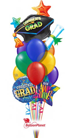 Grad Cap Rainbow No Name  Balloon Bouquet  (12 Balloons)