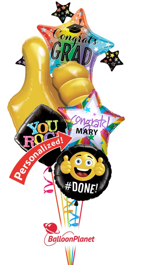 Thumbs Up Grad Cap Personalized Name  Balloon Bouquet  (5 Balloons)