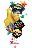 Thumbs Up Grad CapPersonalized Name Balloon Bouquet (5 Balloons) delivery in Sherman Oaks