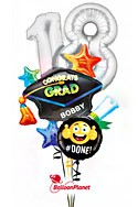 Class of 2017 Black CapPersonalized Name Balloon Bouquet (4 Balloons) delivery in Jersey City