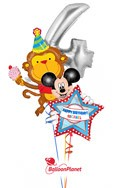 Fourth BirthdaySilver 4 & MonkeyPersonalized Mickey Balloon Bouquet (3 Balloons) delivered in Encino