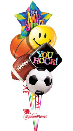 Sports Trio<br>Back to School Balloon Bouquet <br>(6 Balloons)
