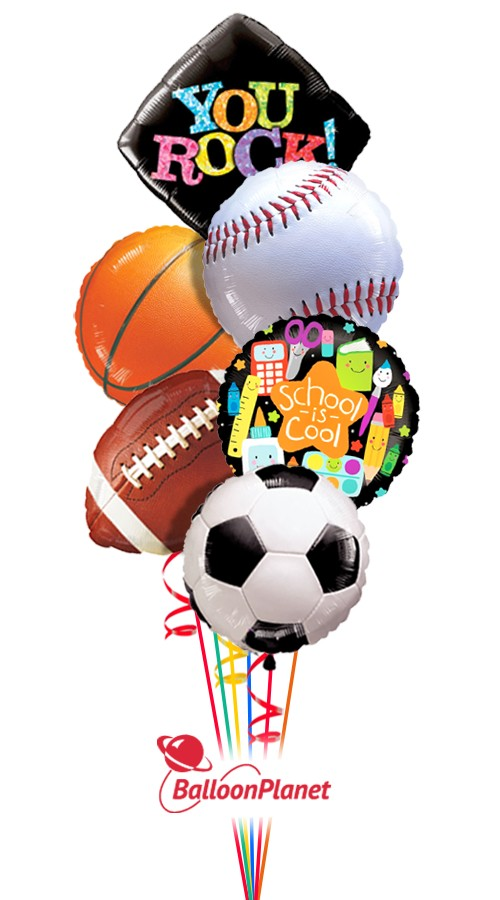 Major Sports<br>Back to School Balloon Bouquet <br>(6 Balloons)