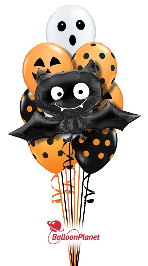 Halloween Prints w/Bat Balloon Bouquet (12 Latex, 1 Mylar)