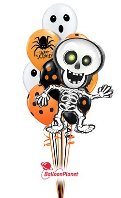 Halloween Mix w/Skelton Mylar Balloon Bouquet (10 Latex, 1 Mylar)
