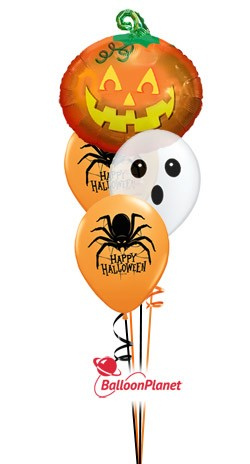 Halloween Mix Jr Bouquet w/Pumpkin Balloon Bouquet (3 Latex, 1 Mylar)