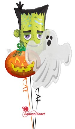 Halloween Mylars Ghost/Monster/Pumpkin Balloon Bouquet (3 Mylars)