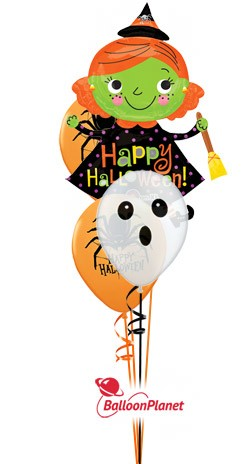 Halloween Mix Jr Bouquet w/Witch Balloon Bouquet (3 Mylars)