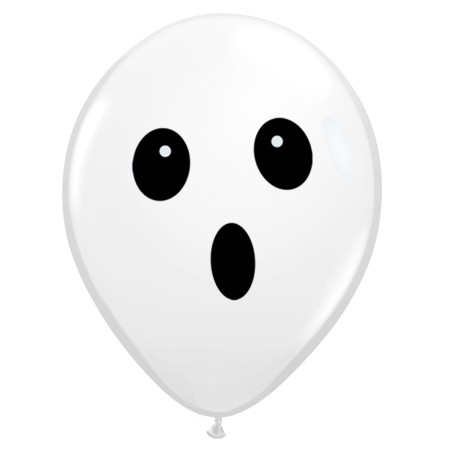 Ghost Face Balloon On White 11in Latex (Avail Oct 15-31)