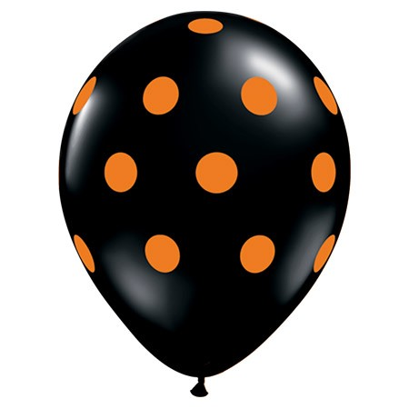 Avail Oct 15-31 Orange Polka Dots On Black 11in Latex