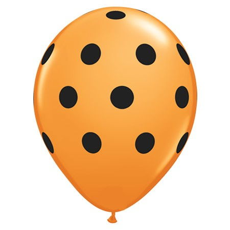 Avail Oct 15-31 Black Polka Dots On Orange 11in Latex
