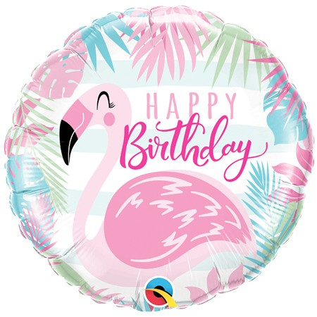 Flamingo Birthday18in Mylar Balloon