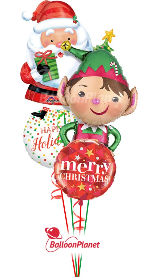 Christmas Bouquet (4 Mylar Balloons)