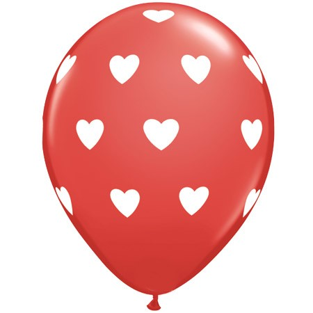 White Hearts on Red 11in Latex Balloon w/HF Available Year-round