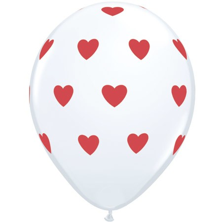 Red Hearts on White 11in Latex Balloon w/HF Available Year-round