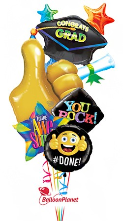 Thumbs Up Grad CapBalloon BouquetNot Personalized (5 Balloons)