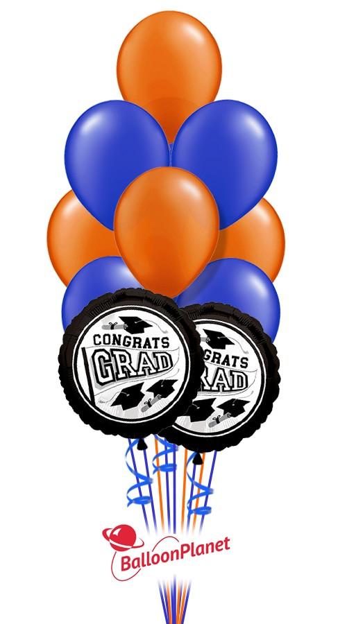 School Colors Graduation Balloon Bouquet Dark Blue Orange 12 Balloons
