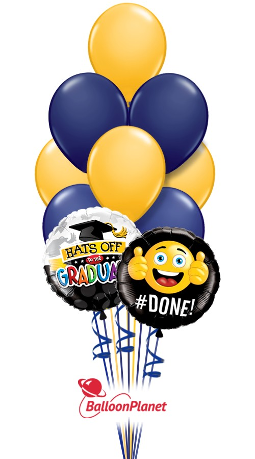 School ColorsGraduation Balloon BouquetNavy/Goldenrod (12 Balloons)