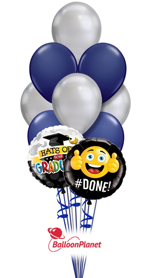 School Colors Graduation Balloon Bouquet Navy Silver 12 Balloons