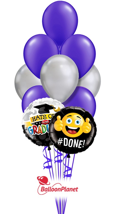 School ColorsGraduation Balloon BouquetPurple/Silver (12 Balloons)