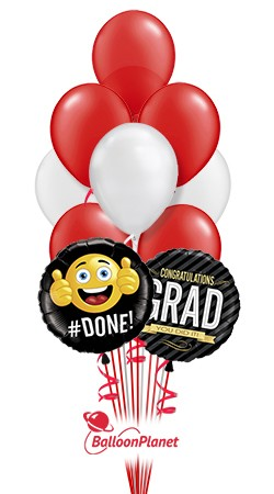 School ColorsGraduation Balloon BouquetRed/White (12 Balloons)