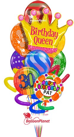 Balloon Bouquet Jumbo Birthday Queen Custom Name Age 10 Balloons Item BDAY 203 8595 USD More Details
