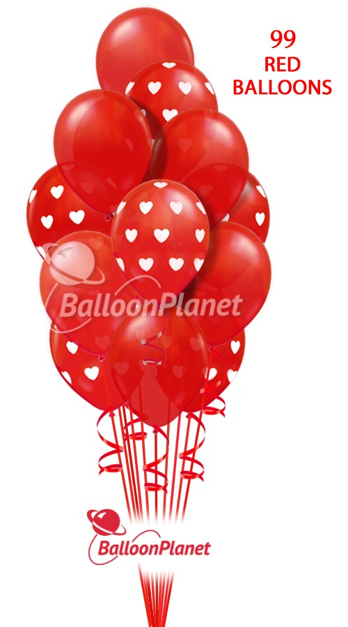 99 Red Balloons Valentines Balloon Bouquet