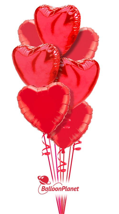 Simply Red HeartsValentine's Balloon Bouquet12 BalloonsZ 1234