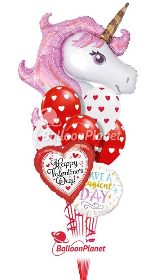 Magical Unicorn Mix BValentine's Balloon Bouquet9 BalloonsZ 234