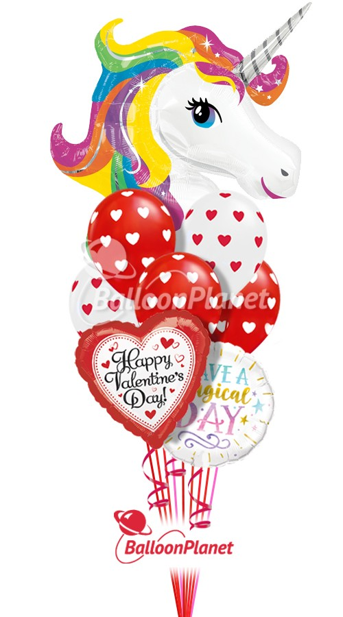 Rainbow Unicorn Mix BValentine's Balloon Bouquet9 BalloonsZ 234