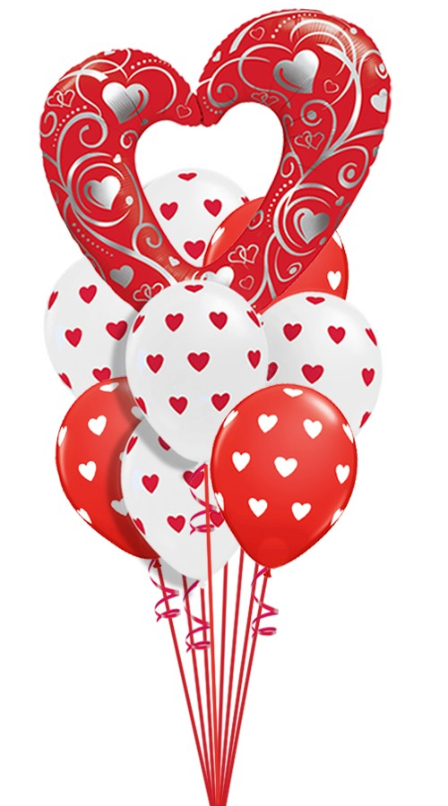 Heart In The Clouds Valentine S Balloon Bouquet 14 Balloons Z 1234
