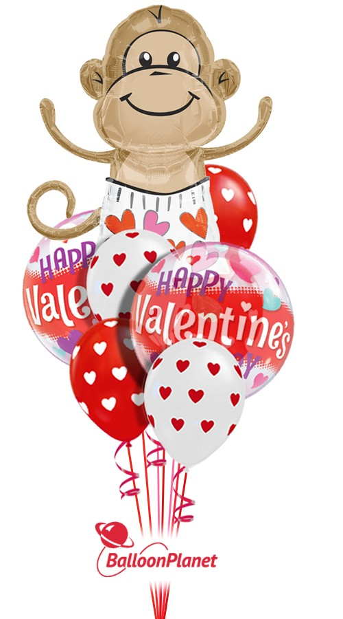 Love Monkey Mix A Valentine S Balloon Bouquet 4 Balloons Z 1234